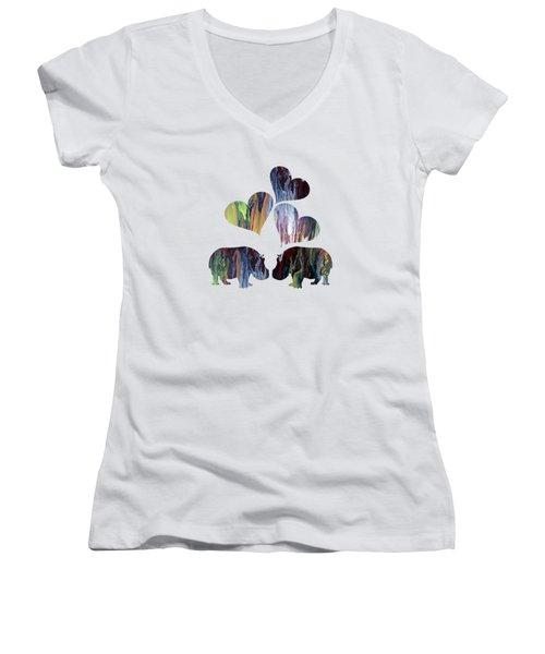 Hippo Art Women's V-Neck T-Shirt
