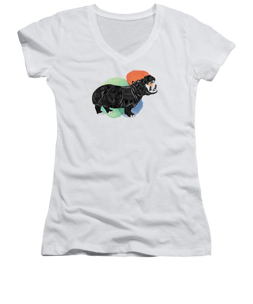 Hippo Women's V-Neck T-Shirt (Junior Cut) by Serkes Panda