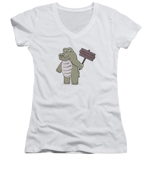 Hippopotamus With Happy Hour Sign Women's V-Neck T-Shirt