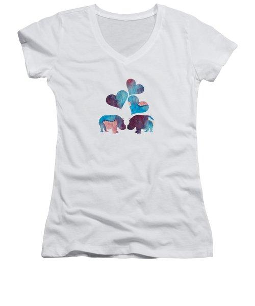 Hippopotamuses Women's V-Neck T-Shirt