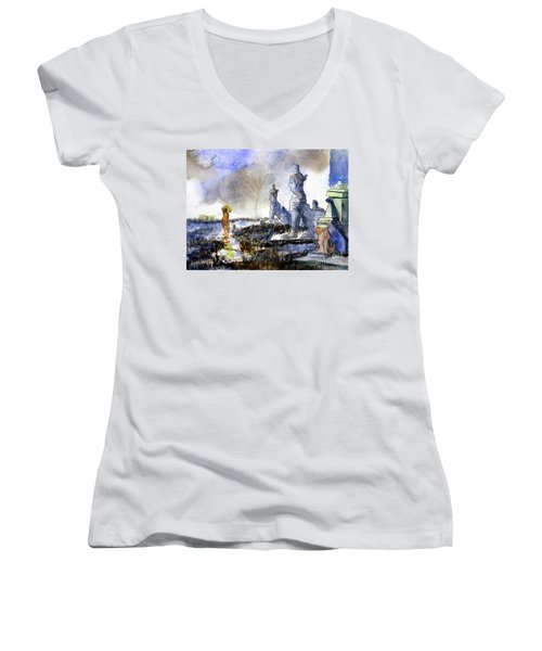 His And Hers Temples Women's V-Neck T-Shirt (Junior Cut) by Randy Sprout