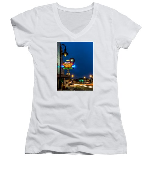 Historic Almond Roca Co. During Blue Hour Women's V-Neck
