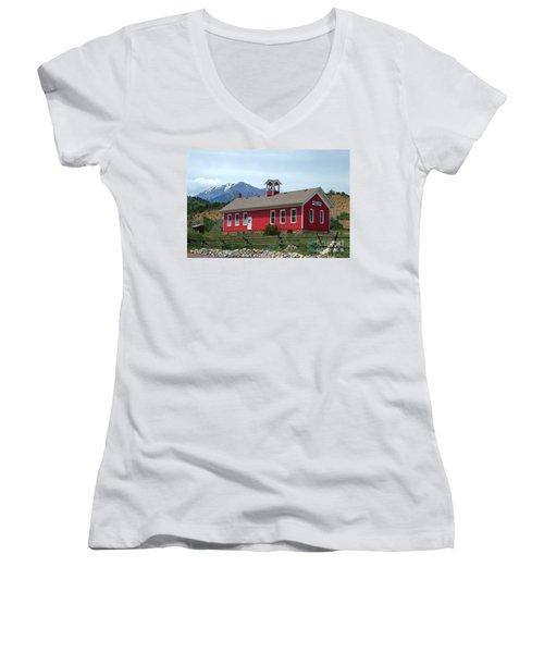 Historic Maysville School In Colorado Women's V-Neck T-Shirt (Junior Cut) by Catherine Sherman