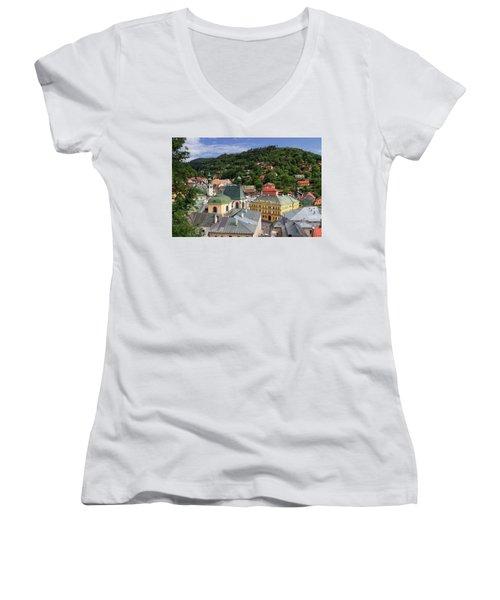 Historic Mining Town Banska Stiavnica, Slovakia Women's V-Neck T-Shirt