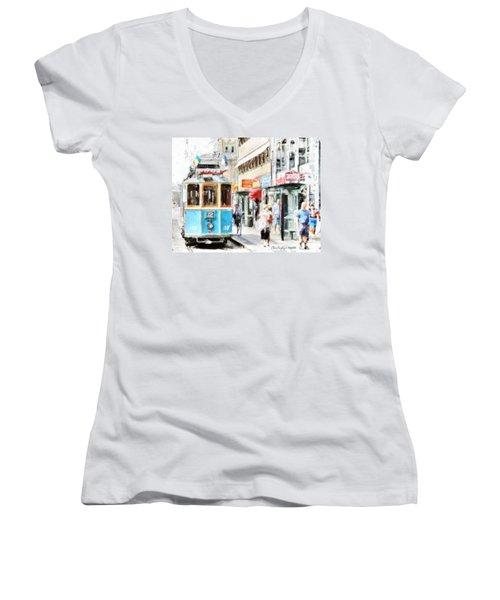 Historic Stockholm Tram Women's V-Neck