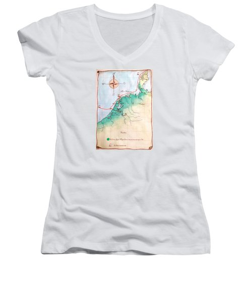 Women's V-Neck T-Shirt (Junior Cut) featuring the painting Magna Frisia- Frisian Kingdom by Annemeet Hasidi- van der Leij