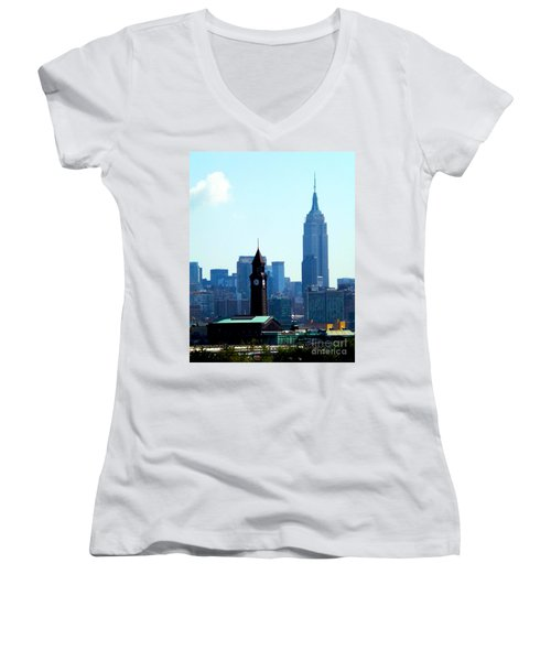 Hoboken And New York Women's V-Neck (Athletic Fit)