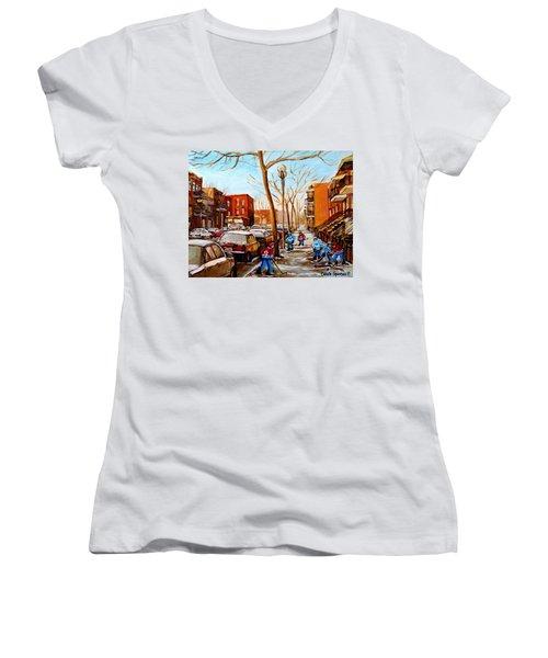 Women's V-Neck T-Shirt (Junior Cut) featuring the painting Hockey On St Urbain Street by Carole Spandau