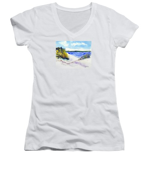 Women's V-Neck T-Shirt (Junior Cut) featuring the painting Hole In The Cove by Joan Hartenstein