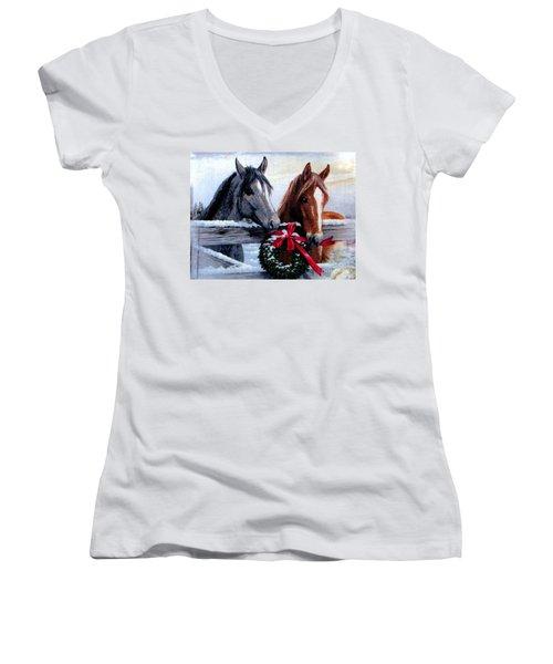 Holiday Barnyard Women's V-Neck T-Shirt (Junior Cut) by Judyann Matthews