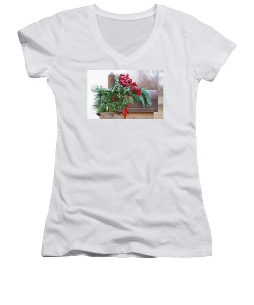 Women's V-Neck T-Shirt (Junior Cut) featuring the photograph Holiday Mail by Nikolyn McDonald