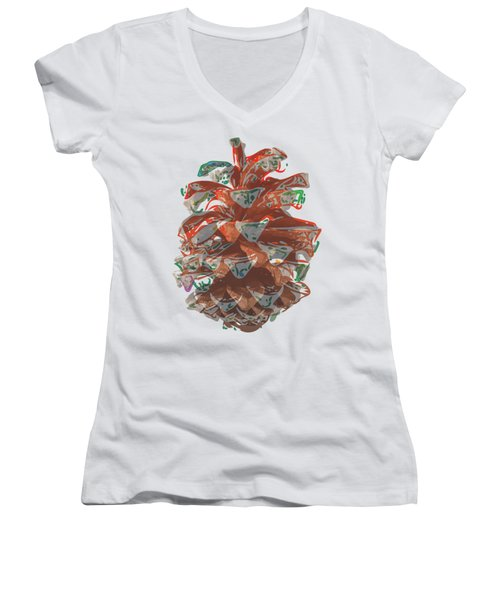 Holiday Red Cone Women's V-Neck T-Shirt