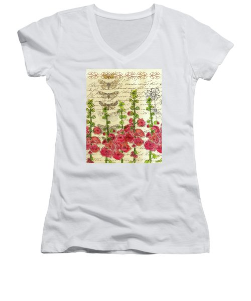 Women's V-Neck T-Shirt (Junior Cut) featuring the drawing Hollyhocks And Butterflies  by Cathie Richardson