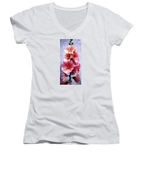 Hollyhocks Women's V-Neck T-Shirt (Junior Cut)