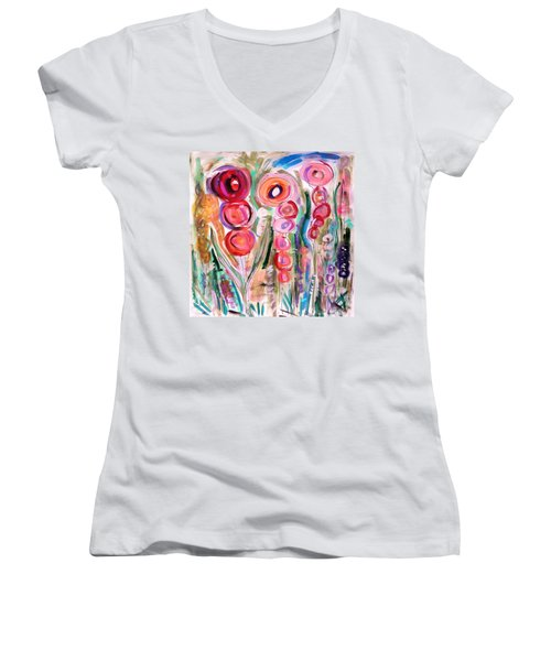 Hollyhocks Of The Garden Women's V-Neck T-Shirt (Junior Cut) by Mary Carol Williams
