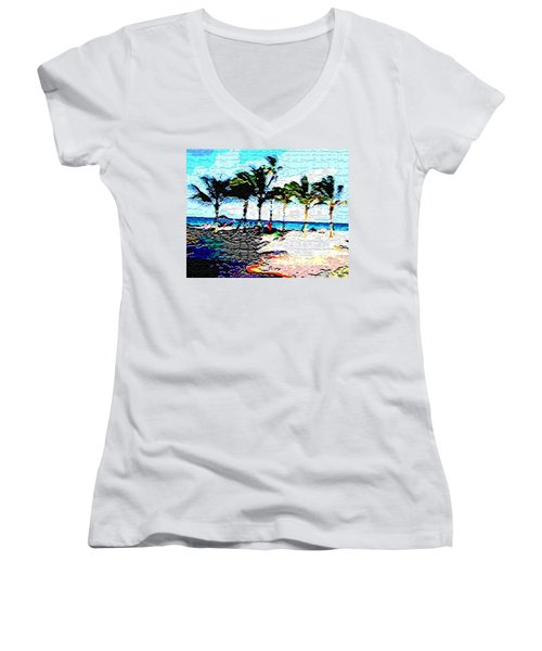 Hollywood Beach Fla Digital Women's V-Neck (Athletic Fit)
