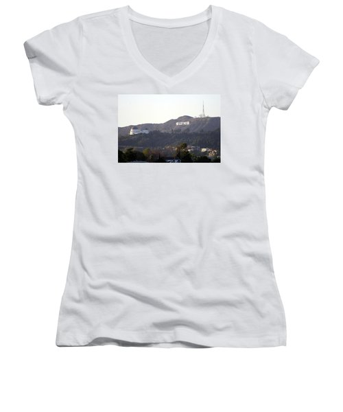 Hollywood Hills And Griffith Observatory Women's V-Neck (Athletic Fit)