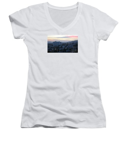 Hollywood Sunset Women's V-Neck T-Shirt (Junior Cut) by Cheryl Del Toro