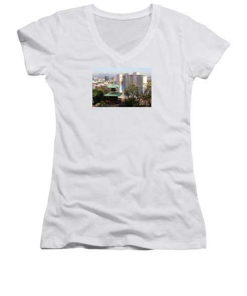 Hollywood View From Japanese Gardens Women's V-Neck T-Shirt (Junior Cut) by Cheryl Del Toro