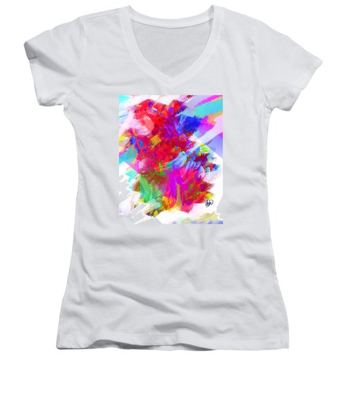 Women's V-Neck T-Shirt (Junior Cut) featuring the digital art Holy Town by AC Williams