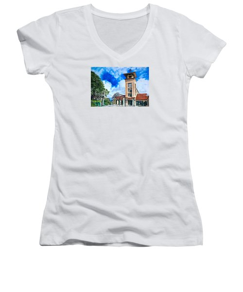 Women's V-Neck T-Shirt (Junior Cut) featuring the painting Holy Trinity by Lance Gebhardt