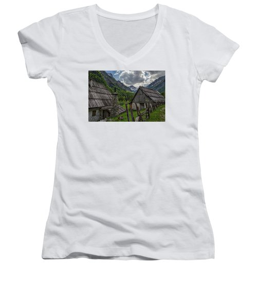 Women's V-Neck T-Shirt featuring the photograph Home In The Slovenian Alps #2 by Stuart Litoff