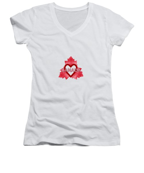 Home Sweet Canada Women's V-Neck T-Shirt (Junior Cut) by Kathleen Sartoris
