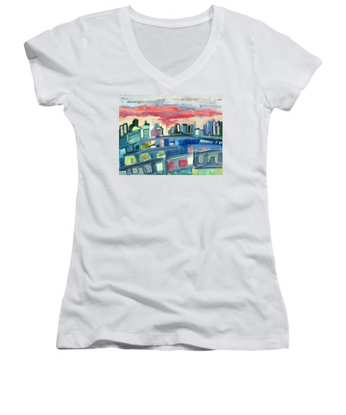 Home To The Softer Side Of City Women's V-Neck T-Shirt