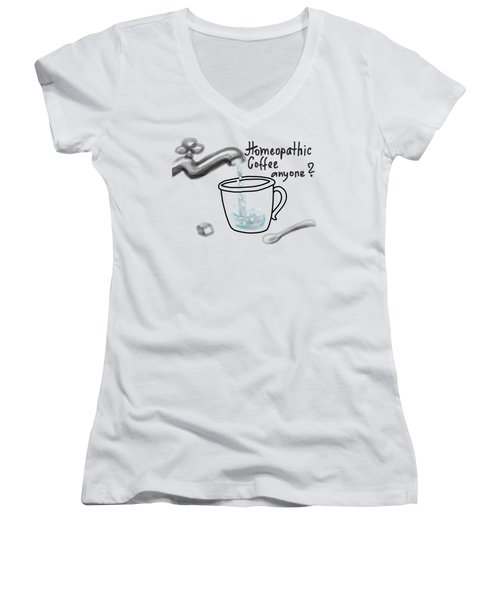 Homeopathic Coffee Women's V-Neck T-Shirt (Junior Cut)