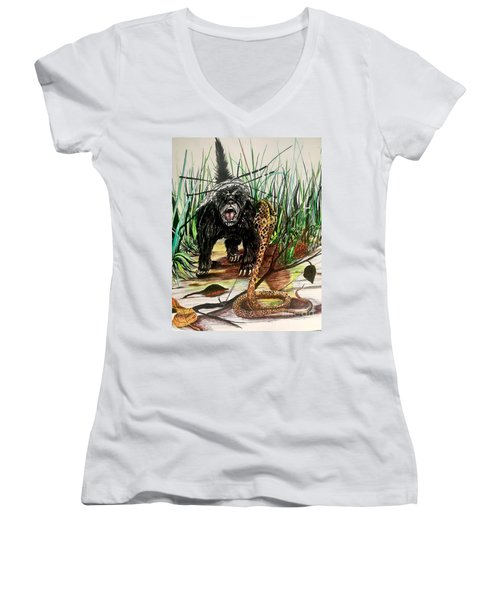 Honey Badger Women's V-Neck (Athletic Fit)