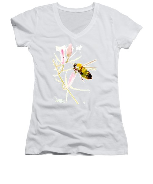 Honey Bee And Pink Flower Women's V-Neck T-Shirt
