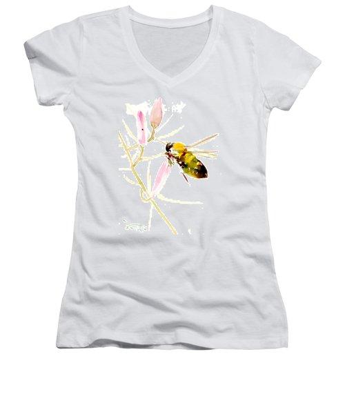 Honey Bee And Pink Flower Women's V-Neck T-Shirt (Junior Cut) by Suren Nersisyan