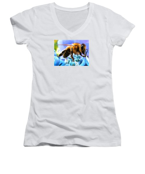 Honey Bee In Interior Design Thick Paint Women's V-Neck
