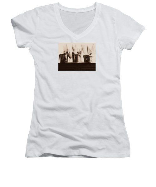 Women's V-Neck T-Shirt (Junior Cut) featuring the photograph Honeybee Smokers by Kristine Nora