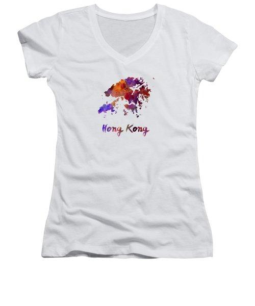 Hong Kong In Watercolor Women's V-Neck T-Shirt (Junior Cut) by Pablo Romero