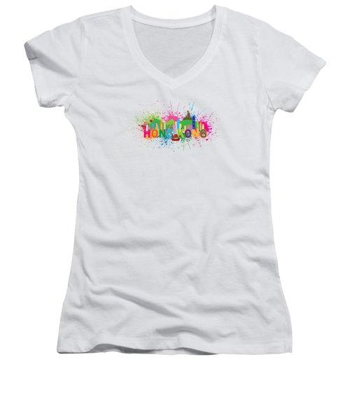 Hong Kong Skyline Paint Splatter Text Illustration Women's V-Neck T-Shirt (Junior Cut) by Jit Lim