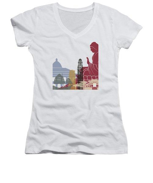 Hong Kong Skyline Poster Women's V-Neck T-Shirt (Junior Cut) by Pablo Romero