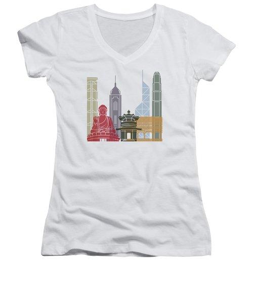 Hong Kong Skyline Poster_v2 Women's V-Neck T-Shirt (Junior Cut) by Pablo Romero