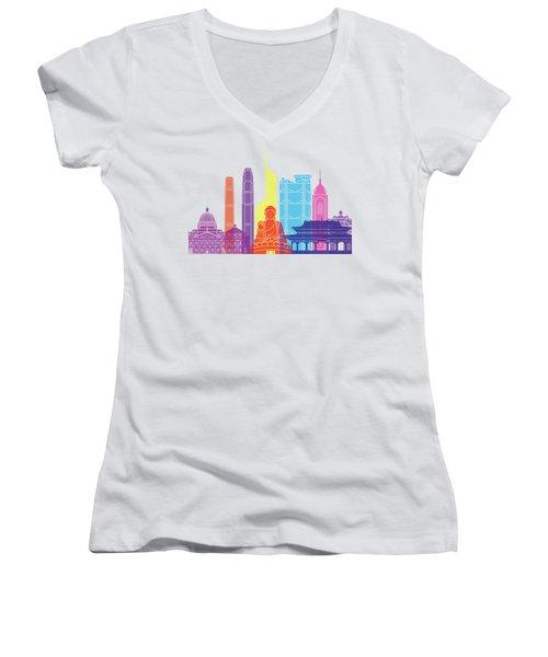 Hong Kong V2 Skyline Pop Women's V-Neck T-Shirt (Junior Cut) by Pablo Romero