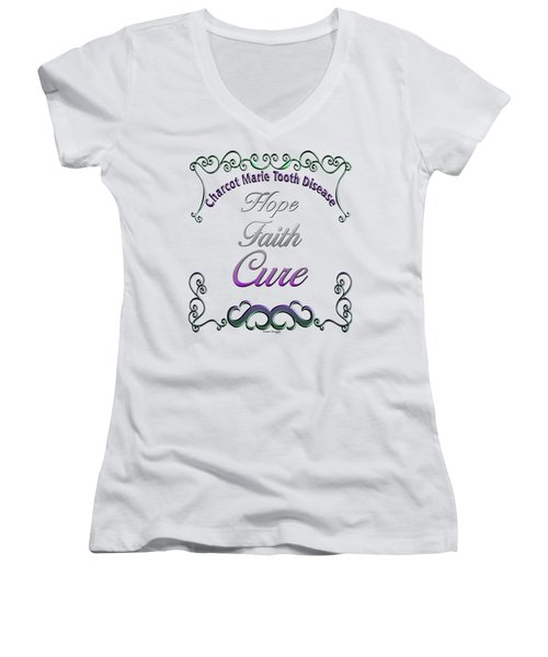 Hope Faith Cure For Cmt Women's V-Neck T-Shirt (Junior Cut) by Susan Kinney