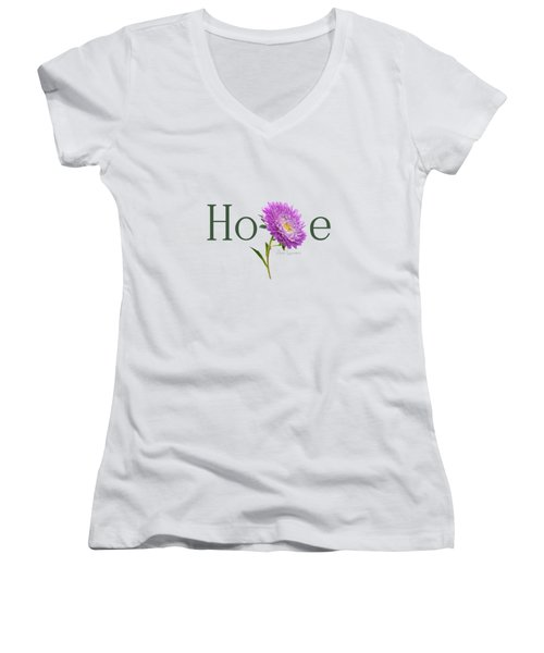 Women's V-Neck T-Shirt (Junior Cut) featuring the digital art Hope Shirt by Ann Lauwers