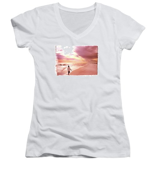 Women's V-Neck T-Shirt (Junior Cut) featuring the photograph Hope's Horizon by Marie Hicks