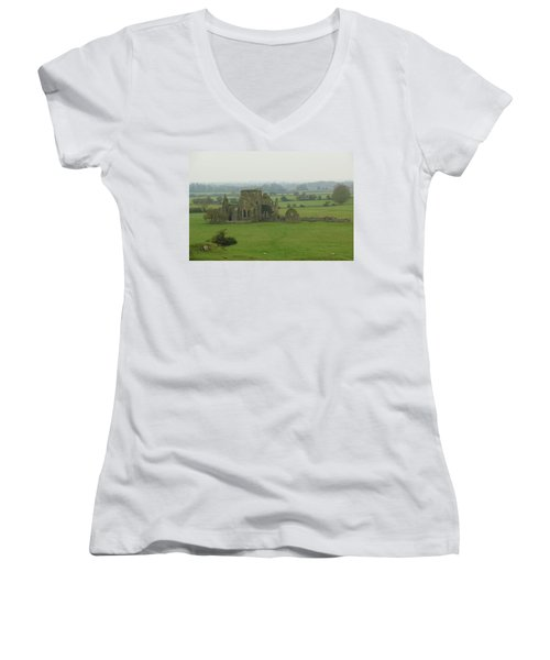 Women's V-Neck T-Shirt (Junior Cut) featuring the photograph Hore Abbey by Marie Leslie
