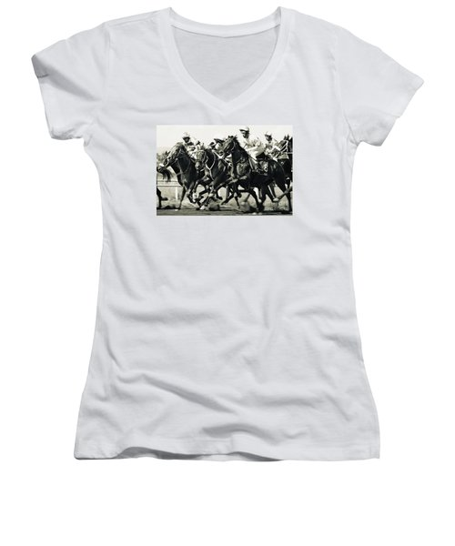 Horse Competition Vi - Horse Race Women's V-Neck