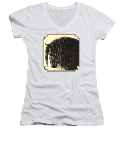 Horse Painting - Friesland Nobility Women's V-Neck T-Shirt (Junior Cut) by Crista Forest