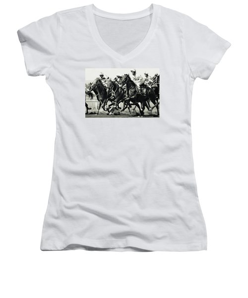 Horse Racing Women's V-Neck