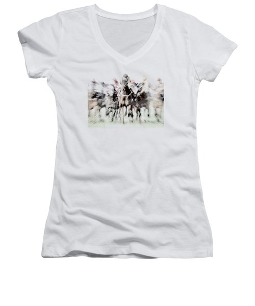 Horse Racing - Parallel Hatching Women's V-Neck (Athletic Fit)