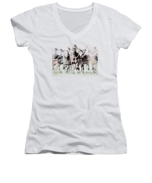 Horse Racing - Parallel Hatching Women's V-Neck T-Shirt