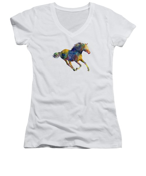 Women's V-Neck T-Shirt (Junior Cut) featuring the painting Horse Running by Hailey E Herrera