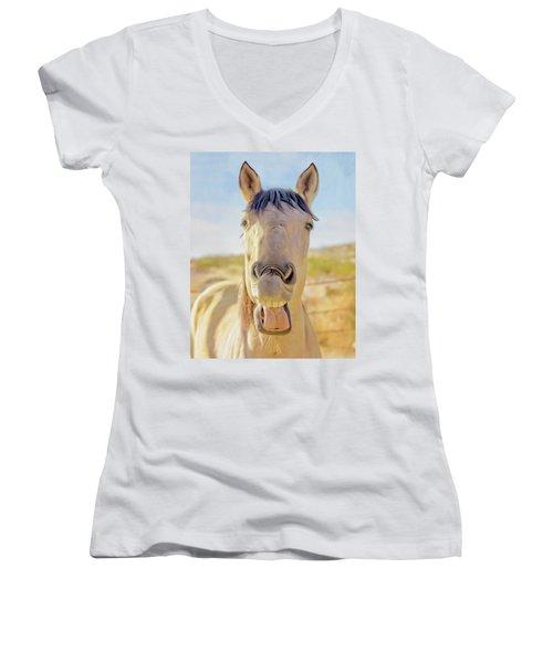 Horse Talk #2  Women's V-Neck (Athletic Fit)